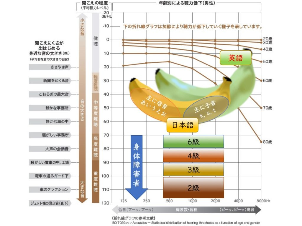 Speech banana Japanese, English, hearing impairment class_Seijo hearing aid